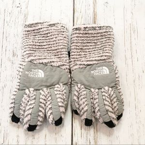 The North Face gray/pink/black stripe gloves large